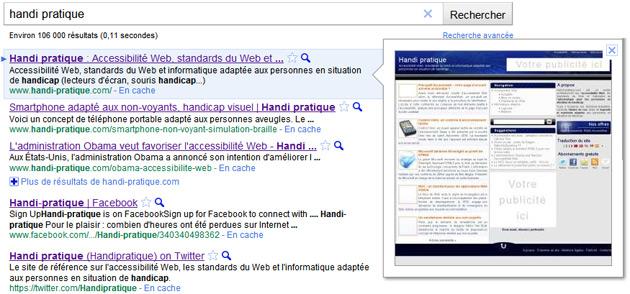 google instant navigation au clavier