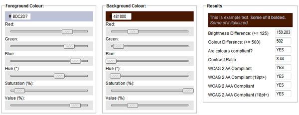 snook color contratst checker